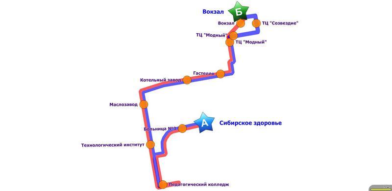 Схема движения маршрутов №2 и